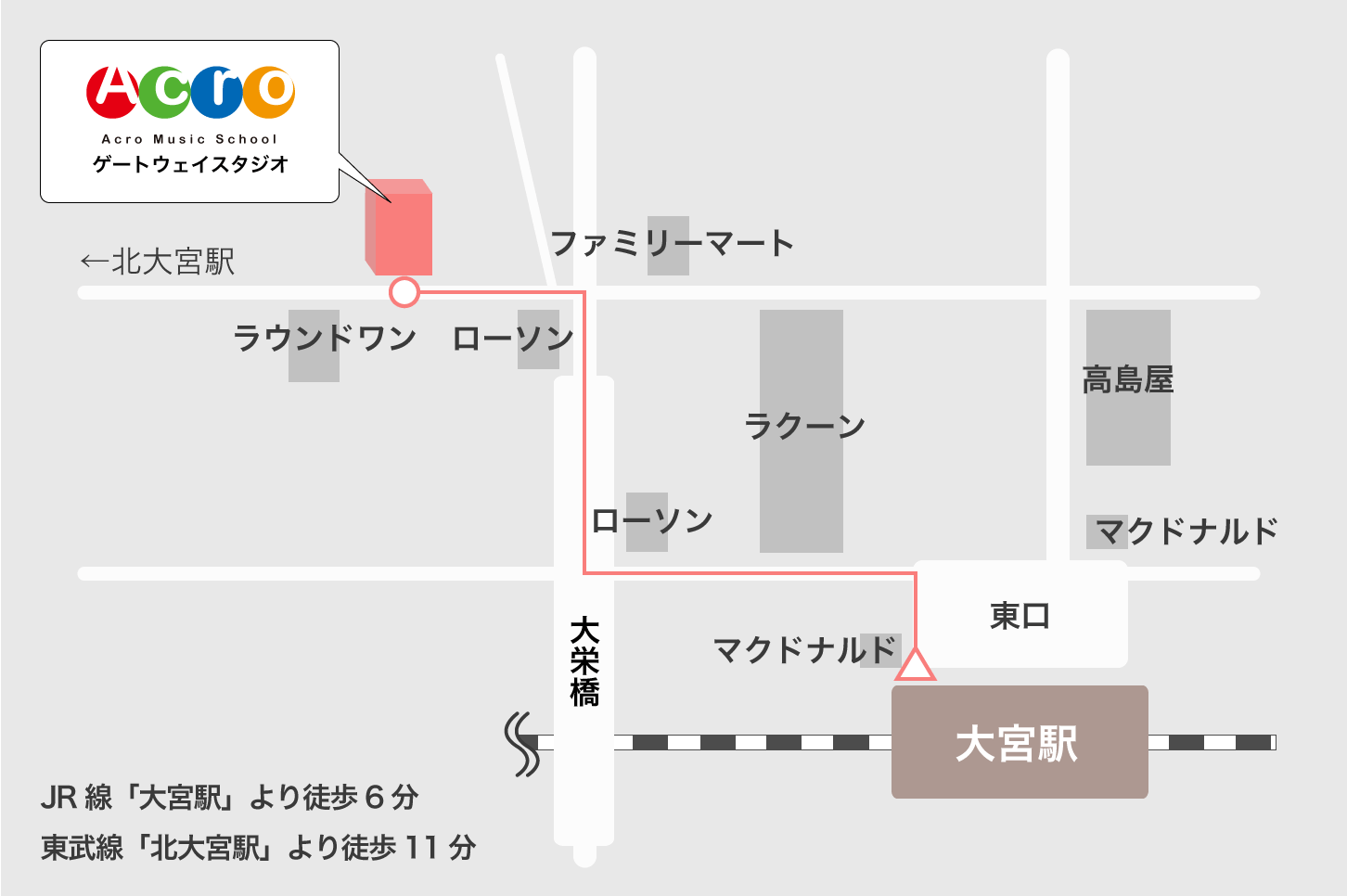 大宮駅からゲートウェイスタジオへの行き方